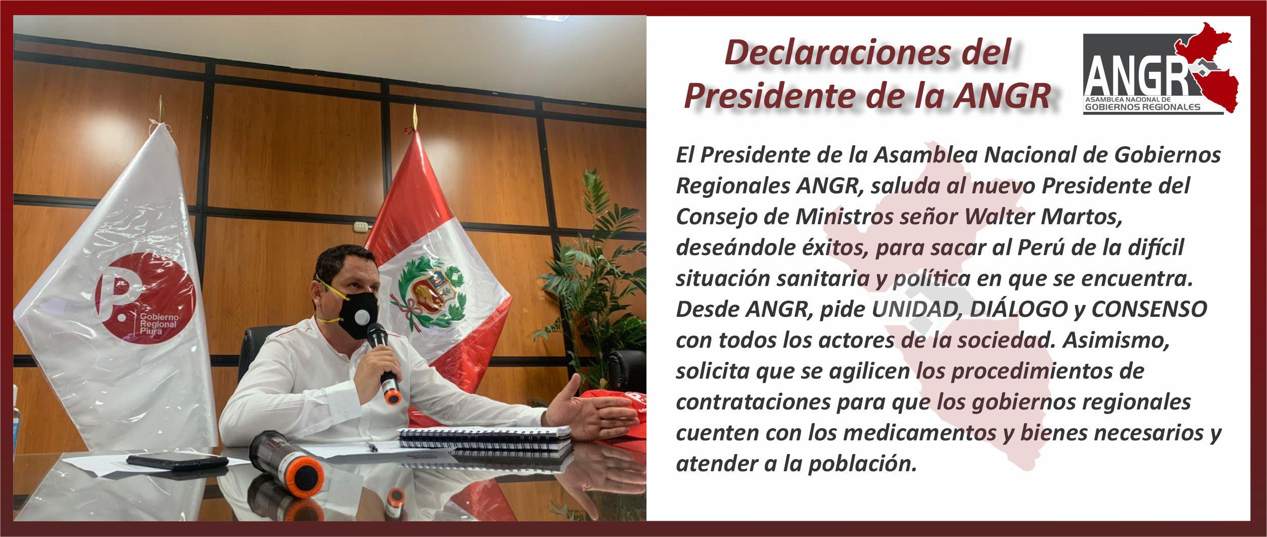 DECLARACIONES DEL PRESIDENTE DE LA ANGR
